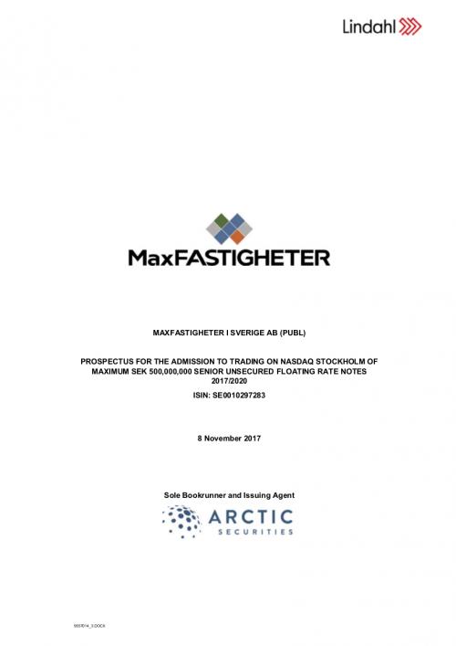 MaxFastigheter i Sverige AB (publ) - Prospectus for admission to trading