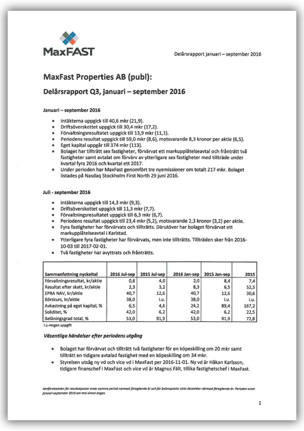 Delårsrapport Q3 jan-september 2016