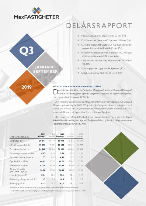 Delårsrapport Q3 2019